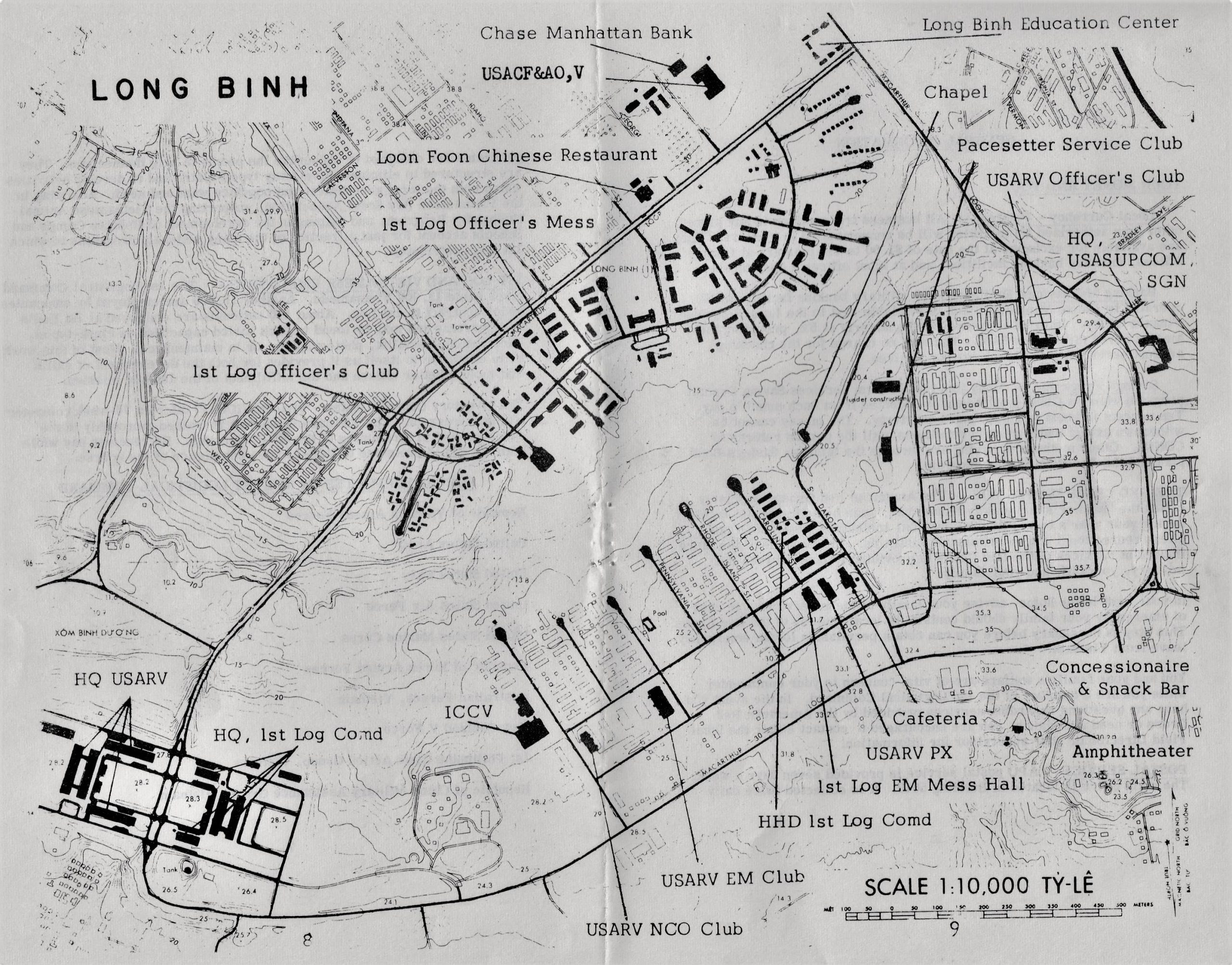 Map of buildings at Long Binh Army Base