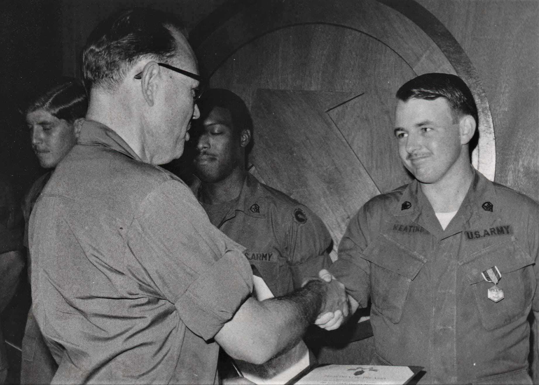 The author receiving the first Army Commendation Medal